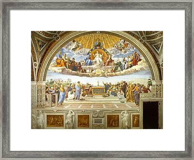 Disputation Of Holy Sacrament Framed Print by Raphael