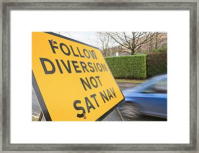 Diversion Road Sign Framed Print