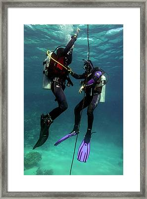 Diving Student And Instructor Framed Print