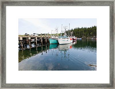 Dock With Fishing Boats At High Tide Framed Print by Andrew J. Martinez