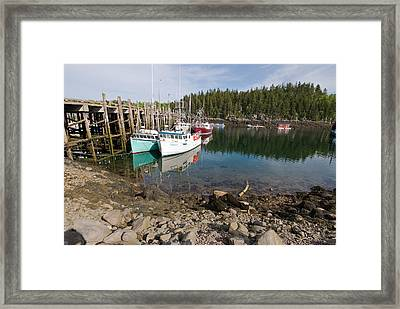 Dock With Fishing Boats At Low Tide Framed Print by Andrew J. Martinez