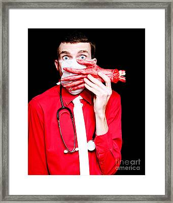 Doctor Death Surgeon Holding Sawn Off Human Hand Framed Print by Jorgo Photography - Wall Art Gallery