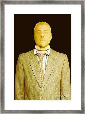 Dodgy Business Person In Stocking Mask Framed Print by Jorgo Photography - Wall Art Gallery