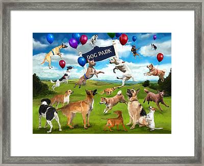 Dog Park Party Framed Print