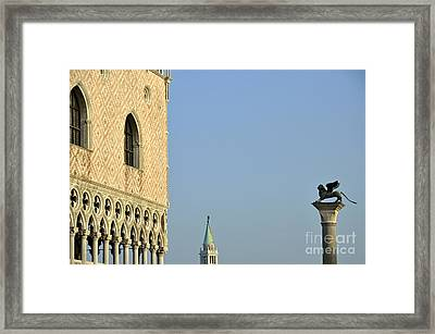 Doges Palace And Column Of San Marco Framed Print