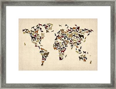Dogs Map Of The World Map Framed Print by Michael Tompsett