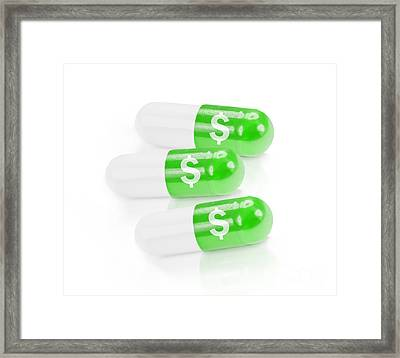 Dollar Sign On Prescription Pills. Medical Costs Framed Print by Jorgo Photography - Wall Art Gallery