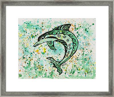 Framed Print featuring the painting Dolphin 2 by Darice Machel McGuire