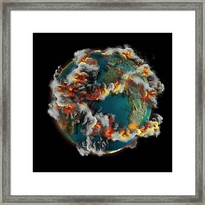Doomsday Volcanoes Framed Print by Claus Lunau