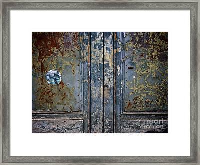 Door With Peeling Paint Framed Print by Bernard Jaubert
