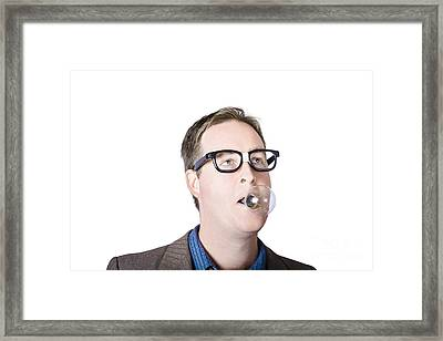 Dorky Man With Lightbulb In Mouth Framed Print by Jorgo Photography - Wall Art Gallery