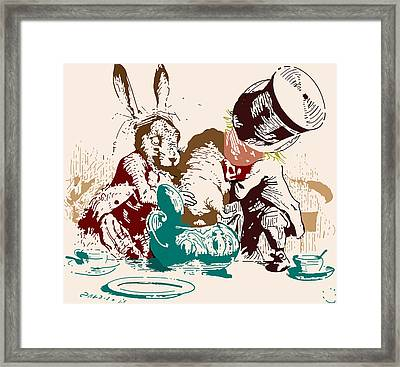 Dormouse In The Teapot Mad Tea Party Framed Print