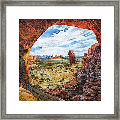Framed Print featuring the painting Double Arch by Aaron Spong