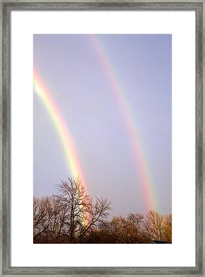 Framed Print featuring the photograph Double Rainbow by Courtney Webster