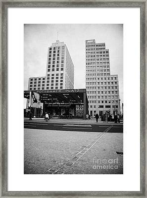 double row of bricks crossing Potsdamer Platz to signify the previous position of the berlin wall Berlin Germany Framed Print by Joe Fox