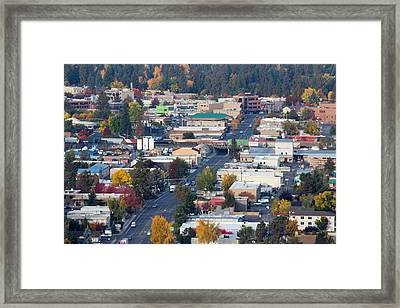 Downtown Bend Oregon From Pilot Butte Framed Print by Twenty Two North Photography