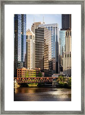 Downtown Chicago Buildings At Lake Street Bridge Framed Print