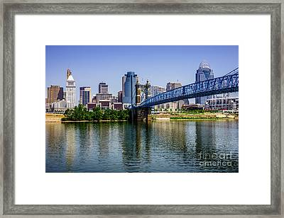 Downtown Cincinnati Skyline And Roebling Bridge Framed Print by Paul Velgos