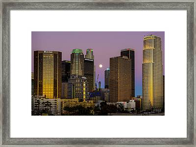 Downtown Los Angeles Moonrise Framed Print