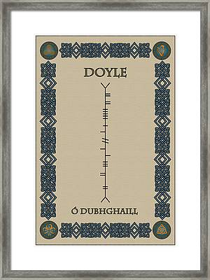 Framed Print featuring the digital art Doyle Written In Ogham by Ireland Calling