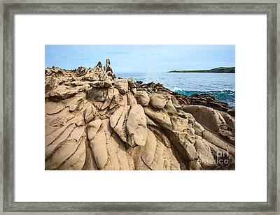 Dramatic Lava Rock Formation Called The Dragon's Teeth In Maui. Framed Print by Jamie Pham