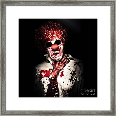 Dramatic Sinister Clown Getting Strangled By Hand Framed Print by Jorgo Photography - Wall Art Gallery