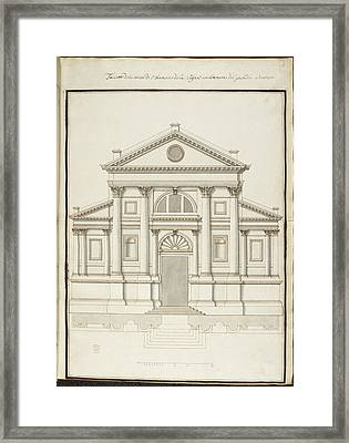 Drawing Of Elevation Of Italian Building Framed Print