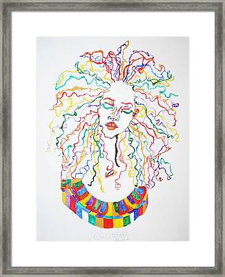 Framed Print featuring the painting Dreadlocks Piano Goddess by Stormm Bradshaw