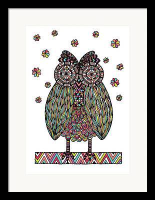 Chevron Owl Framed Prints
