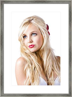 Dreamy Blond Girl With Faraway Expression Framed Print by Jorgo Photography - Wall Art Gallery