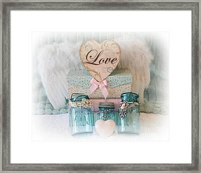 Dreamy Shabby Chic Ball Jars - Vintage Aqua Teal Blue Ball Jars - Ball Jars Pink Valentine Heart Art Framed Print by Kathy Fornal