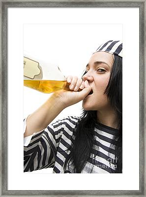 Drinking Detainee Framed Print