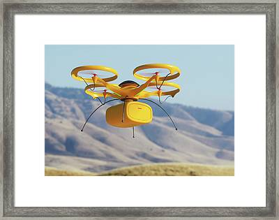 Drone In Transit Framed Print by Ktsdesign/science Photo Library