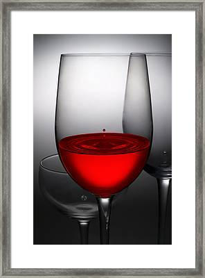 Drops Of Wine In Wine Glasses Framed Print