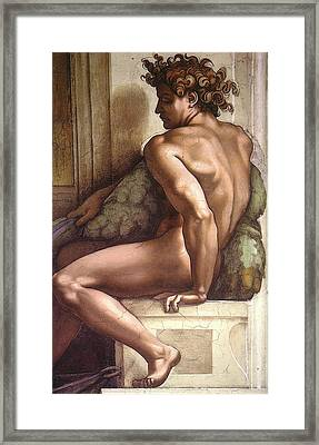 Drunkenness Of Noah - Ignudo Detail Framed Print by Michelangelo Buonarroti