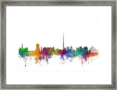 Dublin Ireland Skyline Framed Print by Michael Tompsett