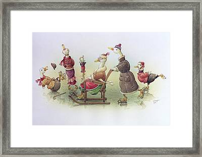 Ducks On Skates Framed Print by Kestutis Kasparavicius