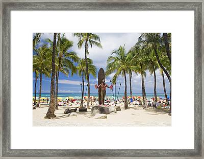 Duke Kahanamoku Statue Framed Print by M Swiet Productions