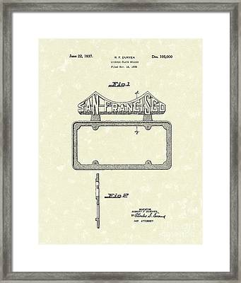 Duryea License Holder 1937 Patent Art Framed Print