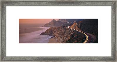 Dusk Highway 1 Pacific Coast Ca Usa Framed Print by Panoramic Images