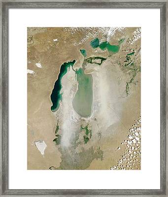 Dust Storm Over The Aral Sea Framed Print by Nasa/jeff Schmaltz