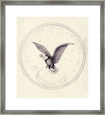 Eagle Design For Us Coin Framed Print