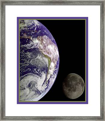 Earth And Moon Framed Print by Nasa