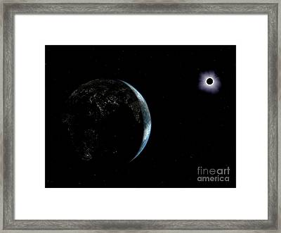 Earth And Solar Eclipse Framed Print by Walter Myers