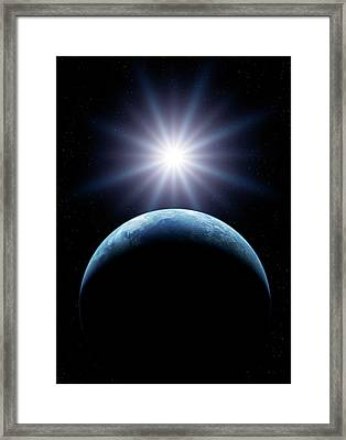 Earth And Sun From Space Framed Print by Detlev Van Ravenswaay