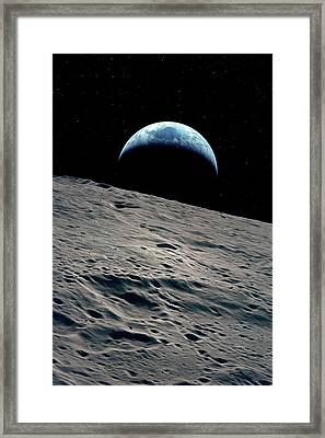 Earthrise Over The Moon Framed Print