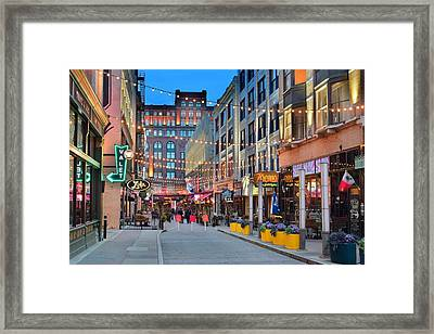 East Fourth Street In Cleveland Framed Print by Frozen in Time Fine Art Photography
