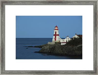 East Quoddy Lighthouse At Dusk Framed Print by Scott Leslie