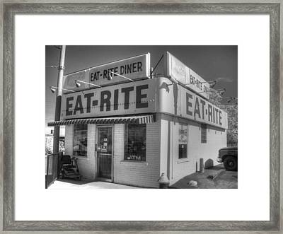 Eat Rite Diner Route 66 Framed Print by Jane Linders