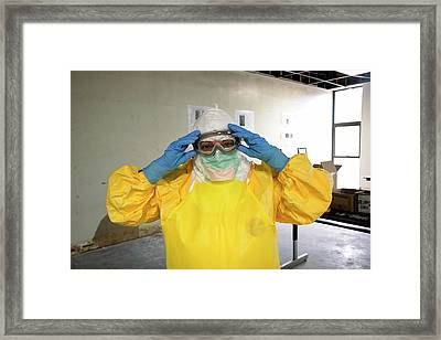 Ebola Care Training Exercise Framed Print by Cleopatra Adedeji/cdc